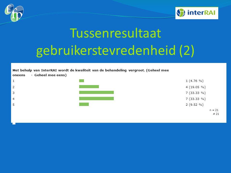 Tussenresultaat gebruikerstevredenheid (2)