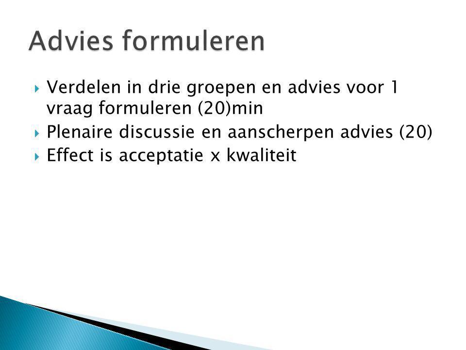 Advies formuleren Verdelen in drie groepen en advies voor 1 vraag formuleren (20)min. Plenaire discussie en aanscherpen advies (20)