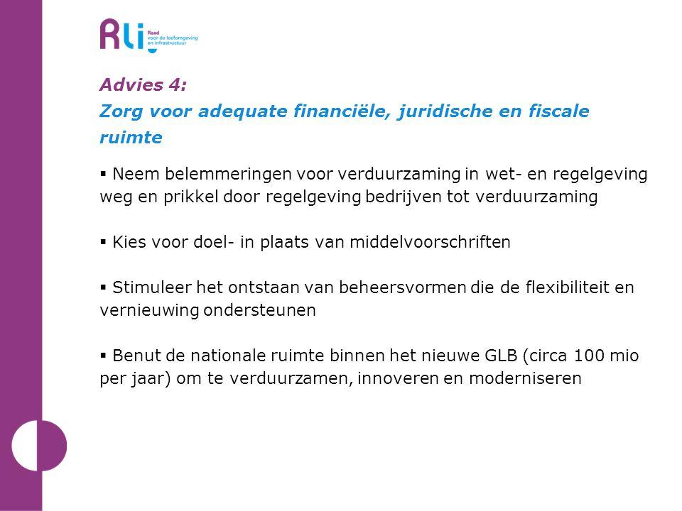 Advies 4: Zorg voor adequate financiële, juridische en fiscale ruimte