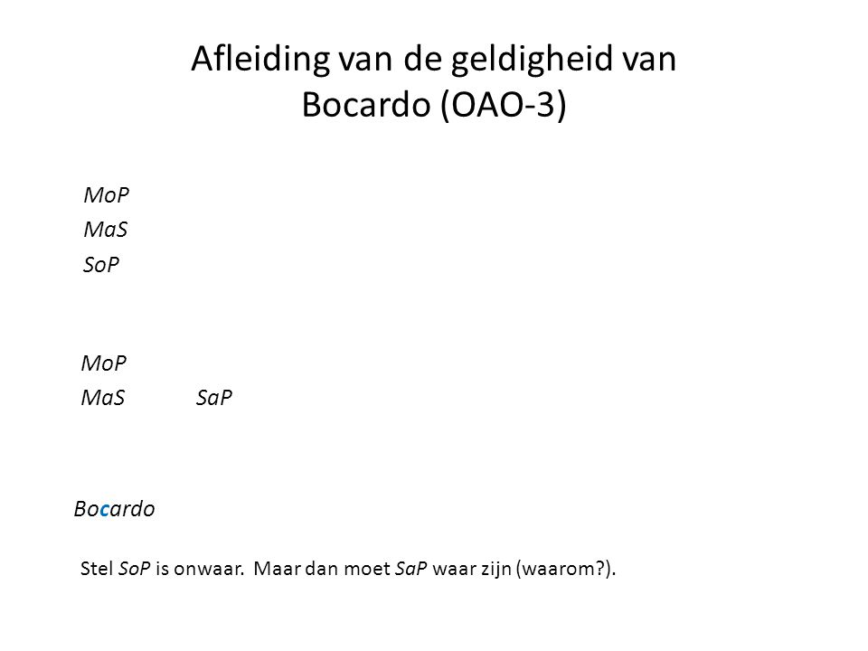 Afleiding van de geldigheid van Bocardo (OAO-3)