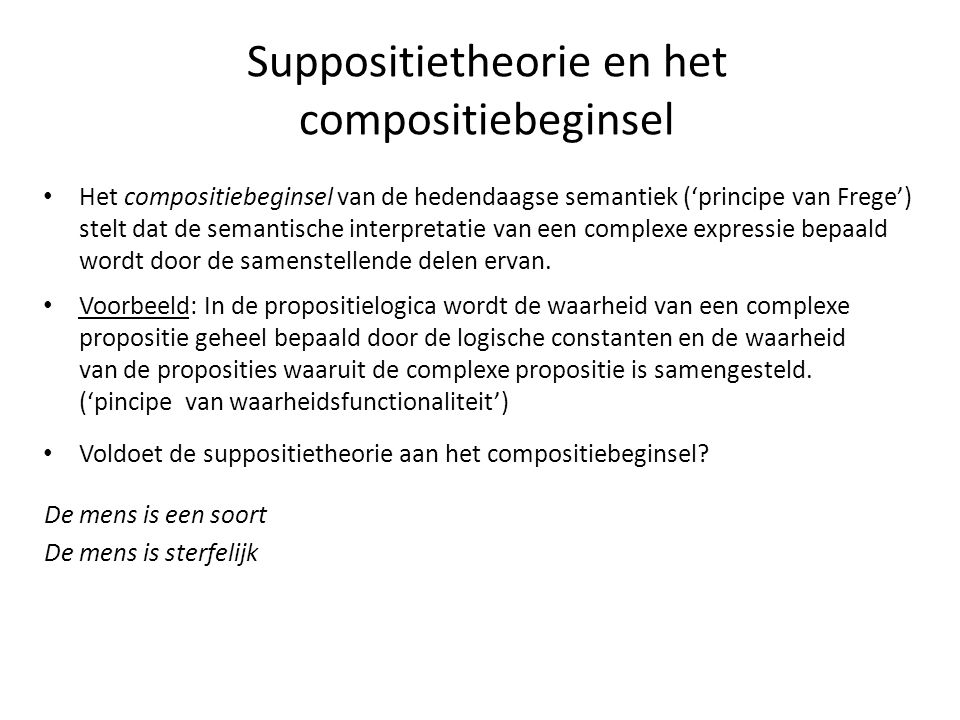 Suppositietheorie en het compositiebeginsel