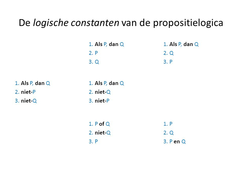 De logische constanten van de propositielogica
