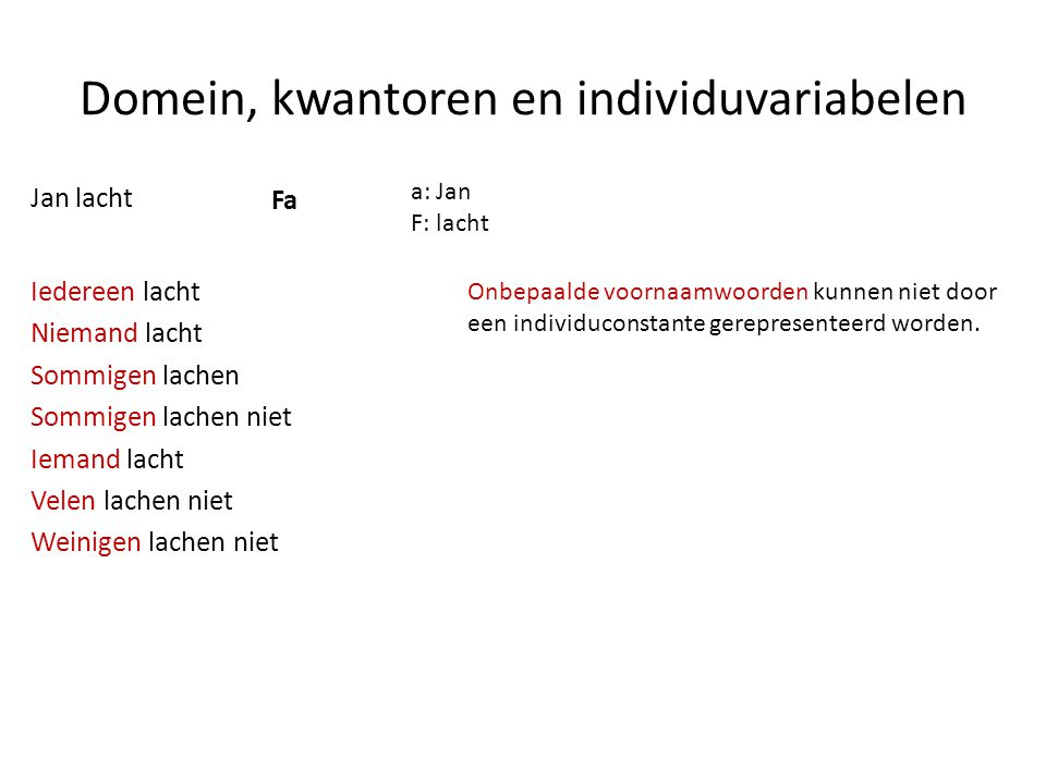 Domein, kwantoren en individuvariabelen