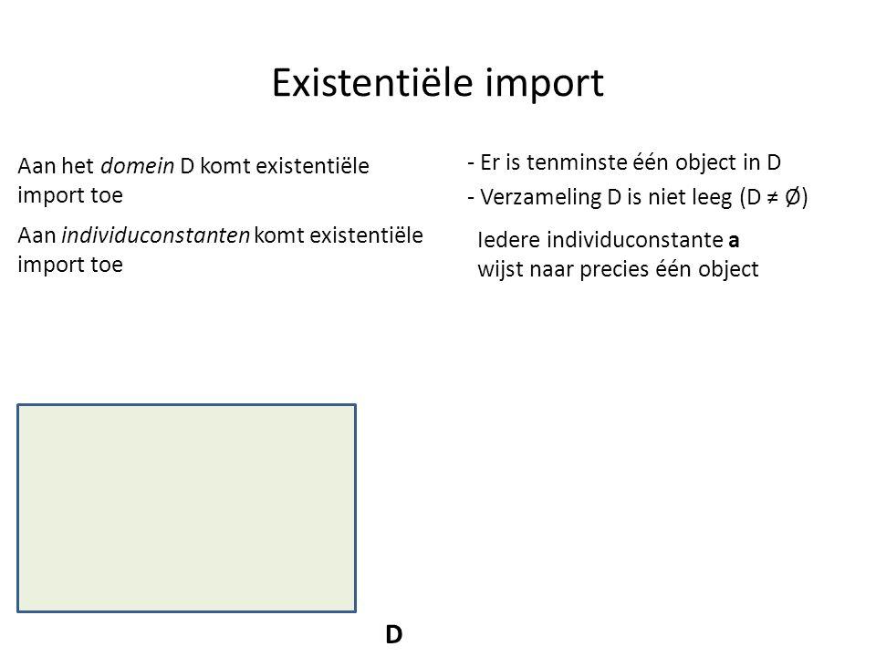 Existentiële import D - Er is tenminste één object in D