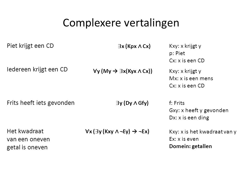 Complexere vertalingen