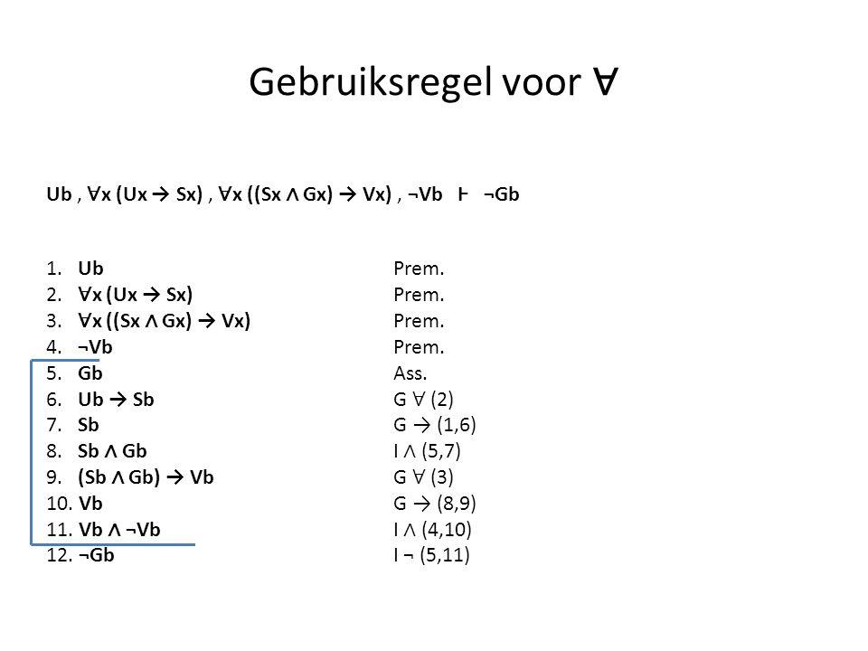 Gebruiksregel voor ∀ Ub , ∀x (Ux → Sx) , ∀x ((Sx ∧ Gx) → Vx) , ¬Vb Ⱶ ¬Gb. 1. Ub Prem. 2. ∀x (Ux → Sx) Prem.