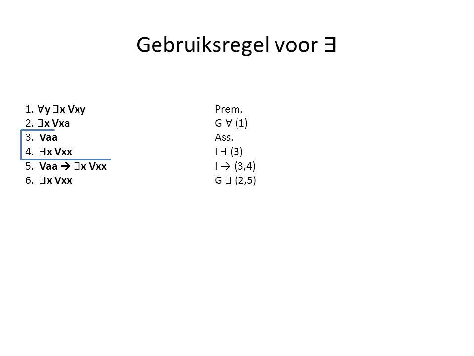 Gebruiksregel voor ∃ 1. ∀y ∃x Vxy Prem. 2. ∃x Vxa G ∀ (1) 3. Vaa Ass.