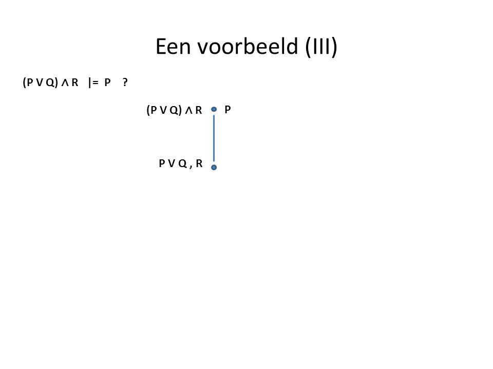 Een voorbeeld (III) (P V Q) ∧ R |= P (P V Q) ∧ R P P V Q , R