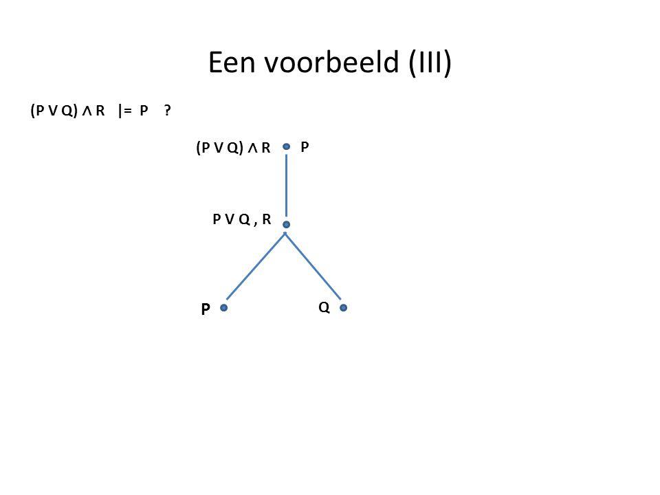 Een voorbeeld (III) (P V Q) ∧ R |= P (P V Q) ∧ R P P V Q , R P Q