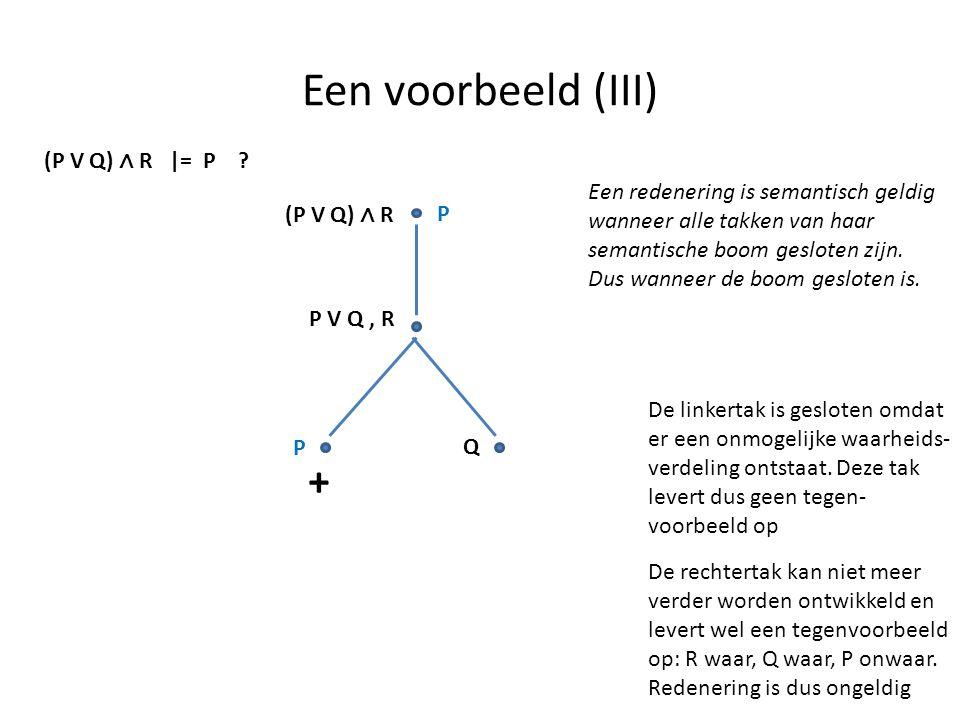Een voorbeeld (III) + (P V Q) ∧ R |= P