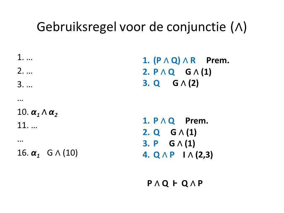 Gebruiksregel voor de conjunctie (∧)