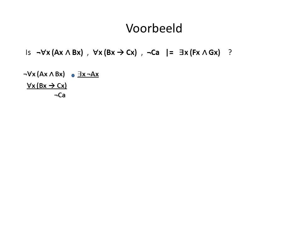 Voorbeeld Is ¬∀x (Ax ∧ Bx) , ∀x (Bx → Cx) , ¬Ca |= ∃x (Fx ∧ Gx)