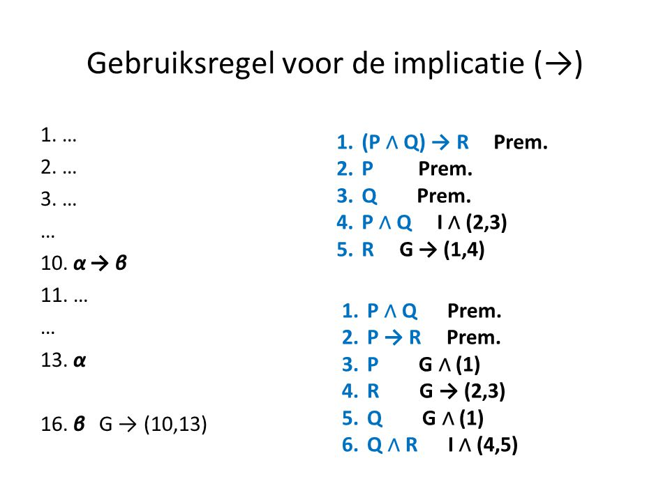 Gebruiksregel voor de implicatie (→)