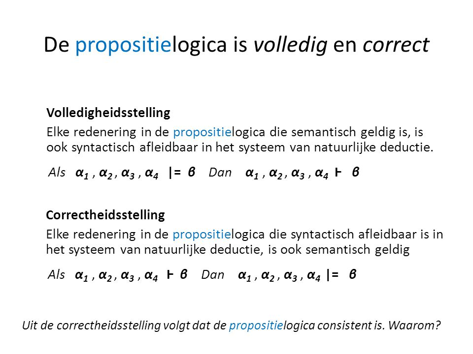De propositielogica is volledig en correct
