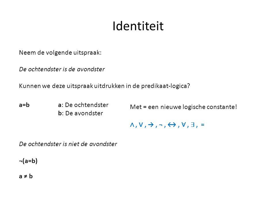 Identiteit Neem de volgende uitspraak: De ochtendster is de avondster