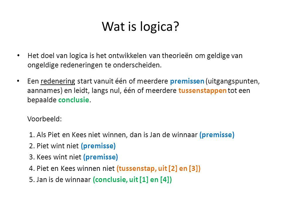 Wat is logica Het doel van logica is het ontwikkelen van theorieën om geldige van ongeldige redeneringen te onderscheiden.