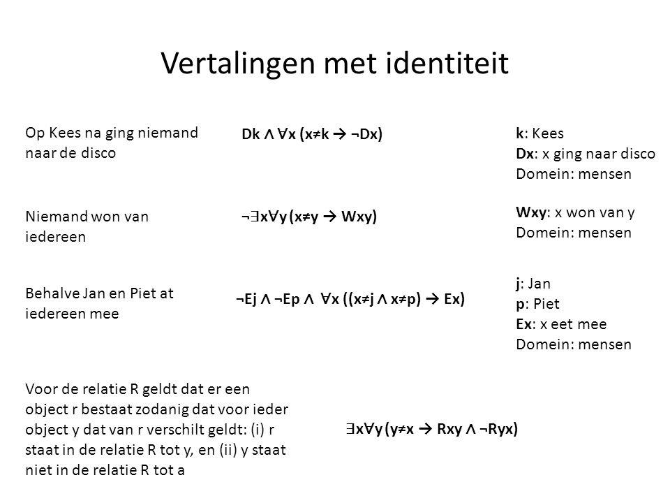 Vertalingen met identiteit