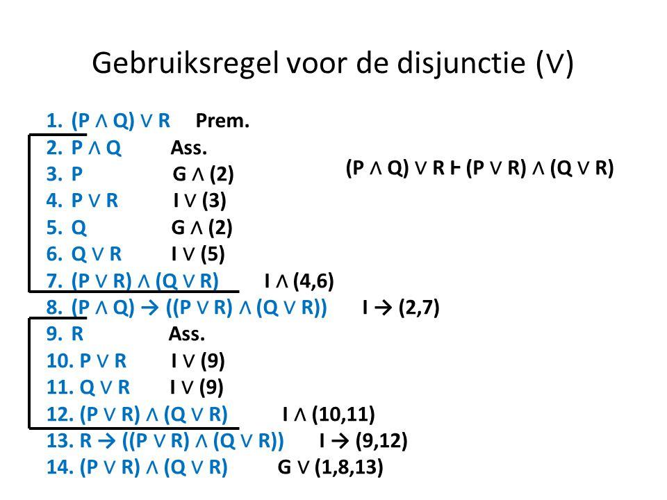 Gebruiksregel voor de disjunctie (∨)