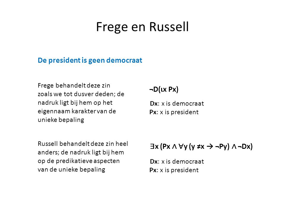 Frege en Russell De president is geen democraat ¬D(ιx Px)