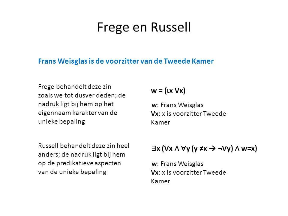 Frege en Russell Frans Weisglas is de voorzitter van de Tweede Kamer