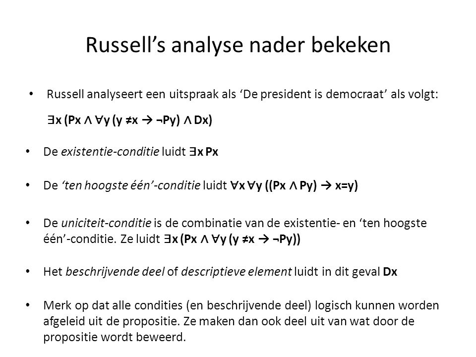 Russell's analyse nader bekeken