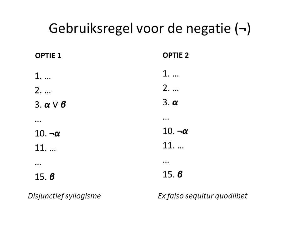 Gebruiksregel voor de negatie (¬)