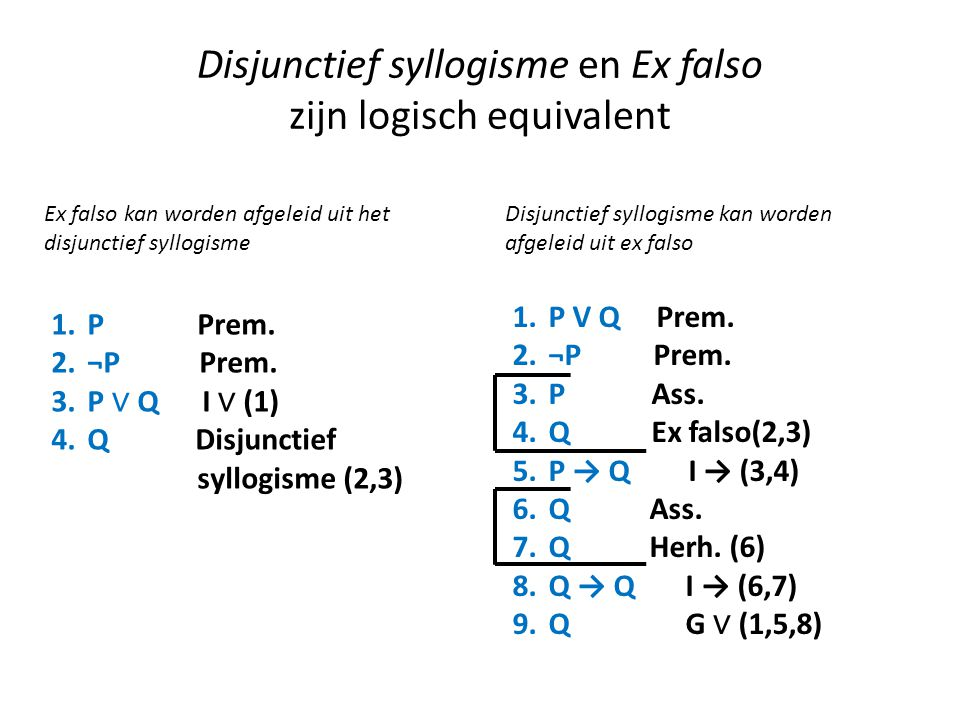 Disjunctief syllogisme en Ex falso zijn logisch equivalent