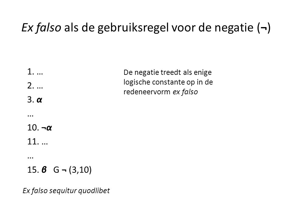 Ex falso als de gebruiksregel voor de negatie (¬)