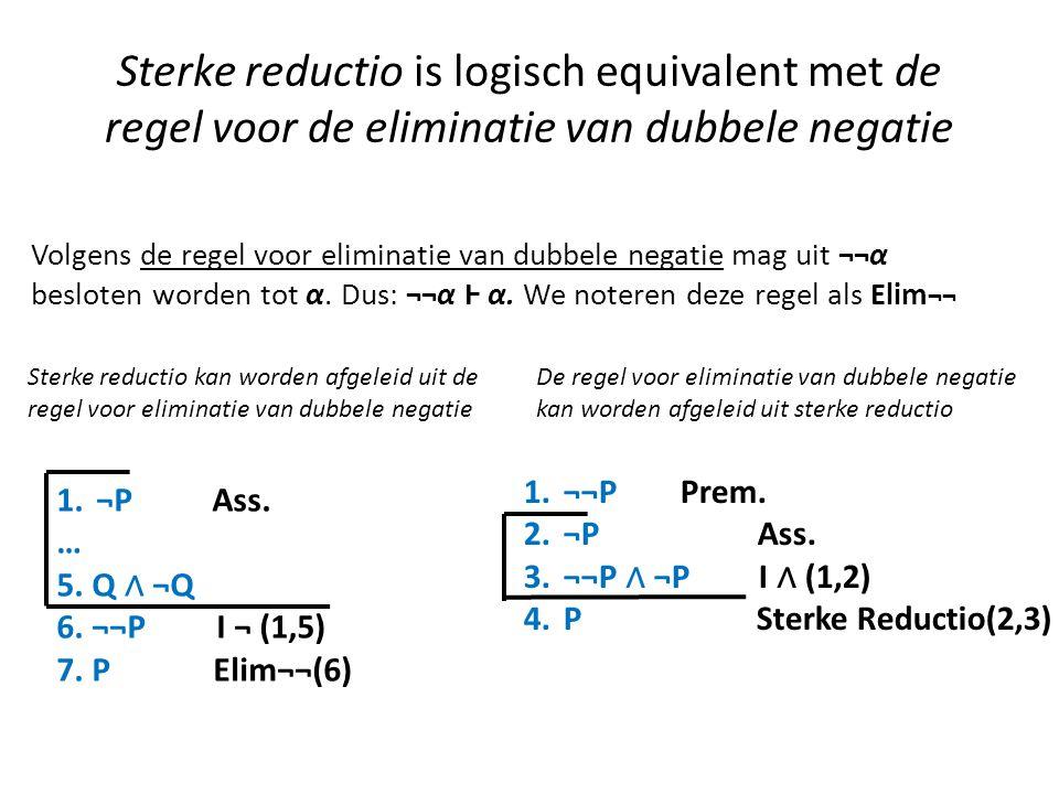 Sterke reductio is logisch equivalent met de regel voor de eliminatie van dubbele negatie