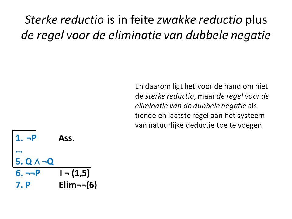 Sterke reductio is in feite zwakke reductio plus de regel voor de eliminatie van dubbele negatie
