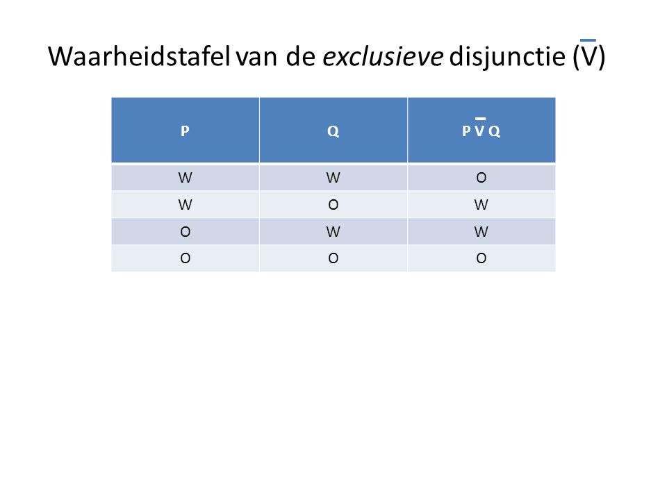Waarheidstafel van de exclusieve disjunctie (V)