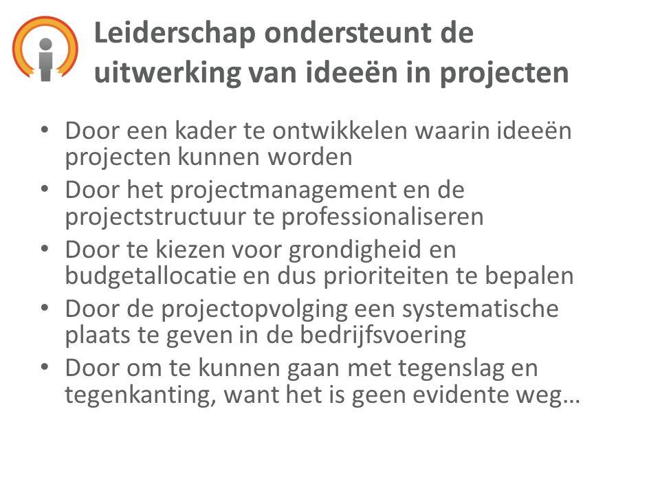 Leiderschap ondersteunt de uitwerking van ideeën in projecten