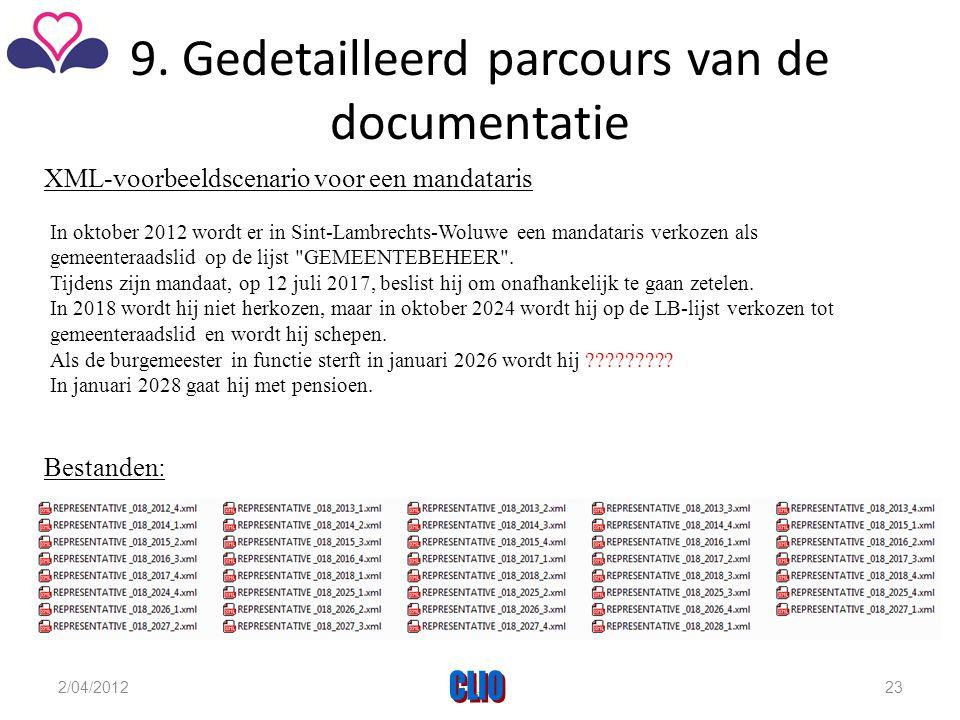 9. Gedetailleerd parcours van de documentatie