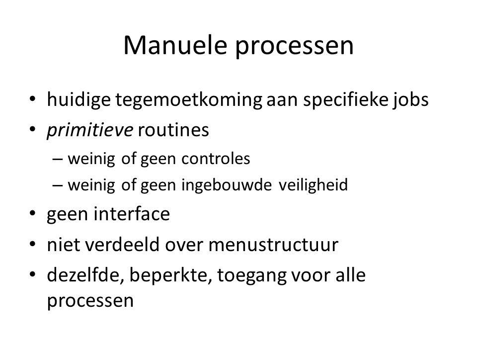 Manuele processen huidige tegemoetkoming aan specifieke jobs