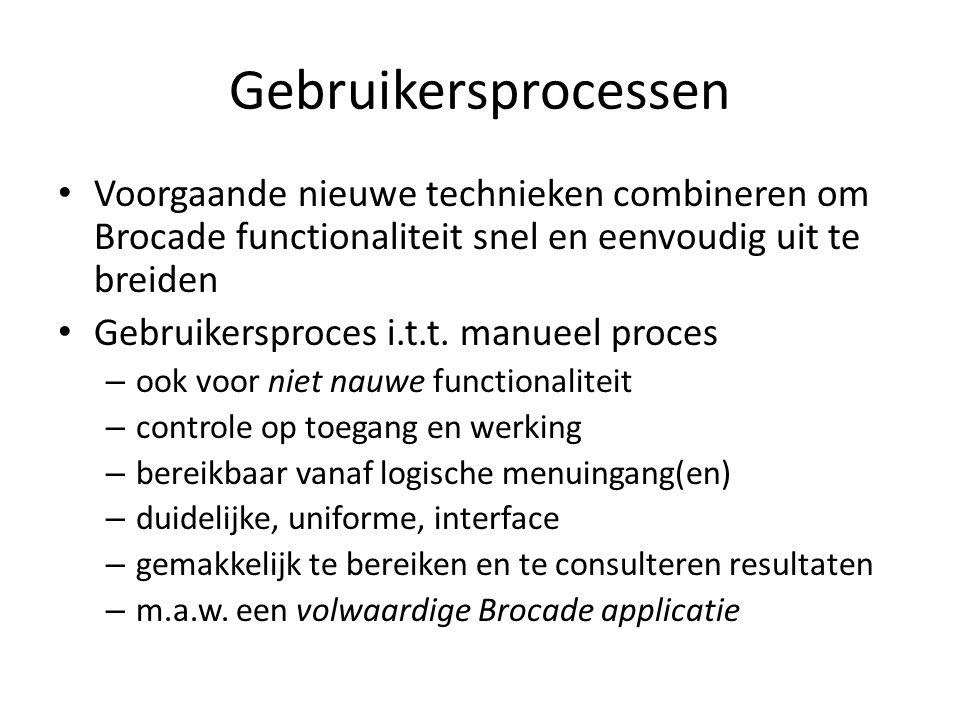 Gebruikersprocessen Voorgaande nieuwe technieken combineren om Brocade functionaliteit snel en eenvoudig uit te breiden.