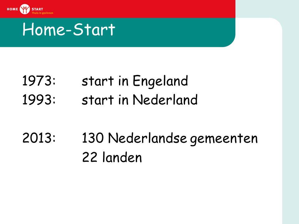Home-Start 1973: start in Engeland 1993: start in Nederland 2013: 130 Nederlandse gemeenten 22 landen
