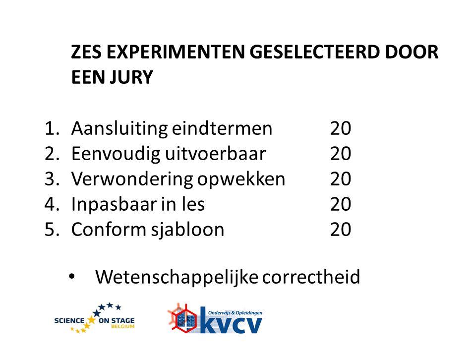 ZES EXPERIMENTEN GESELECTEERD DOOR EEN JURY