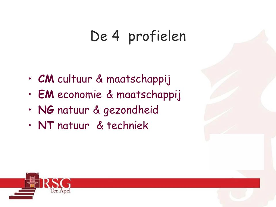 De 4 profielen CM cultuur & maatschappij EM economie & maatschappij