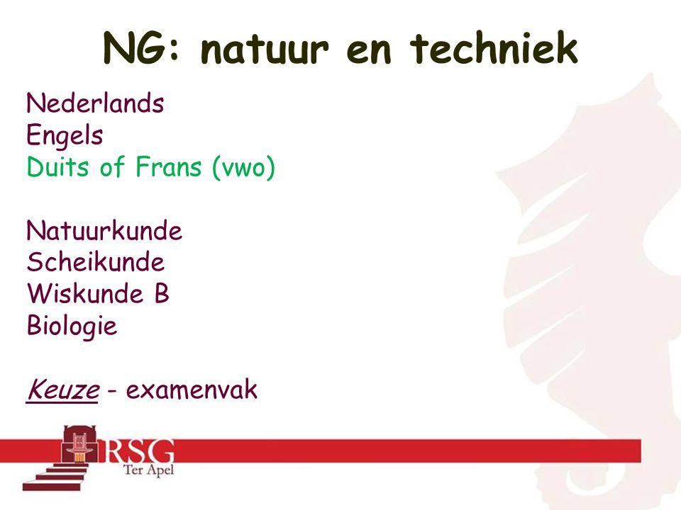 NG: natuur en techniek Nederlands Engels Duits of Frans (vwo)