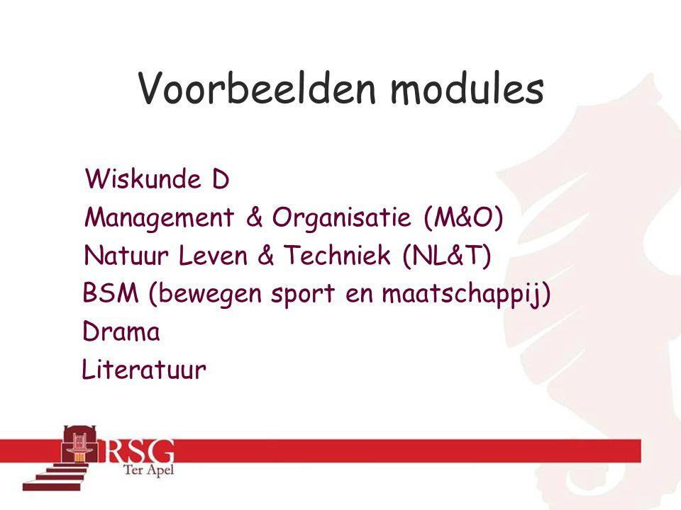 Voorbeelden modules Wiskunde D Management & Organisatie (M&O)