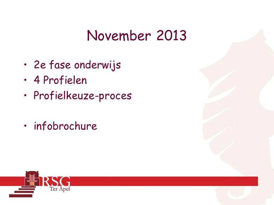 November 2013 2e fase onderwijs 4 Profielen Profielkeuze-proces