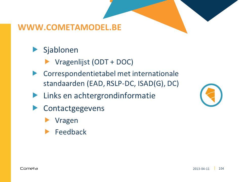 www.cometamodel.be Sjablonen Links en achtergrondinformatie
