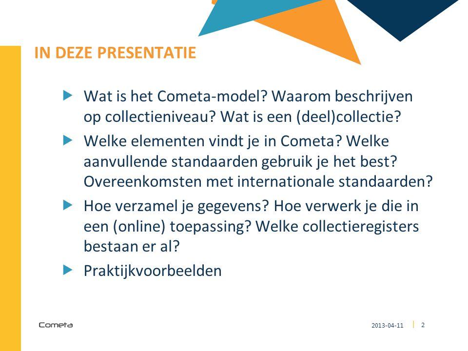IN DEZE PRESENTATIE Wat is het Cometa-model Waarom beschrijven op collectieniveau Wat is een (deel)collectie