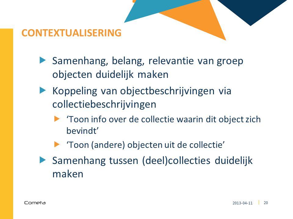 Samenhang, belang, relevantie van groep objecten duidelijk maken