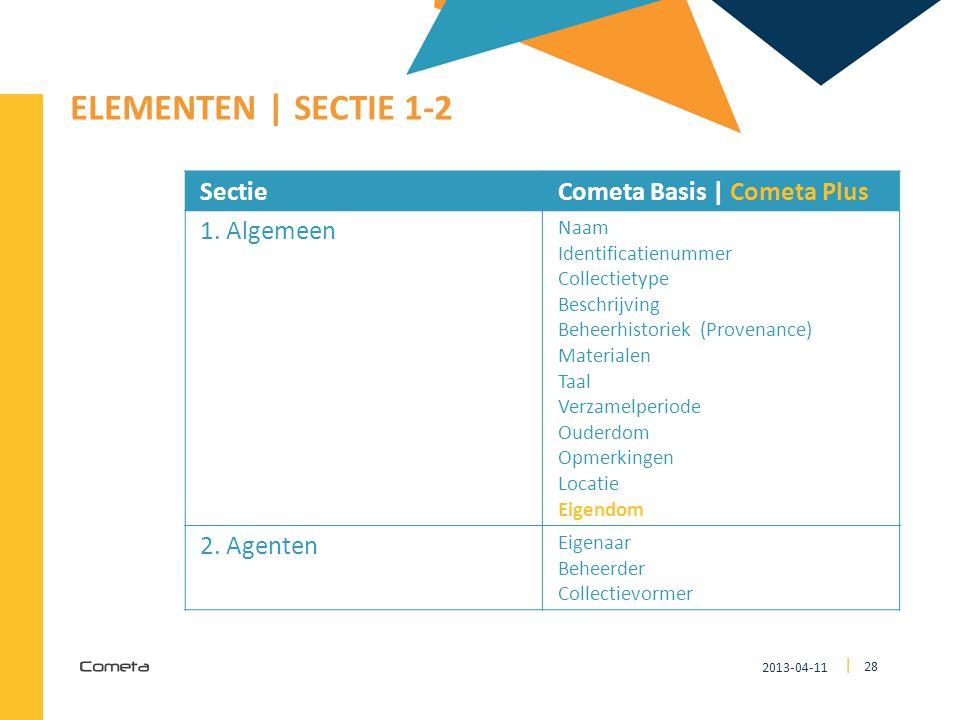 ELEMENTEN | SECTIE 1-2 Sectie Cometa Basis | Cometa Plus 1. Algemeen