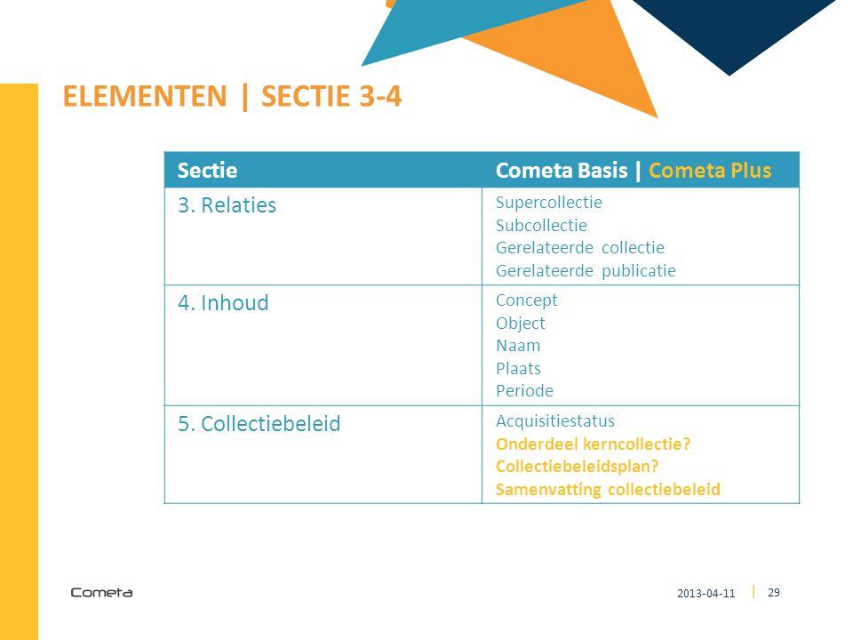 ELEMENTEN | SECTIE 3-4 Sectie Cometa Basis | Cometa Plus 3. Relaties