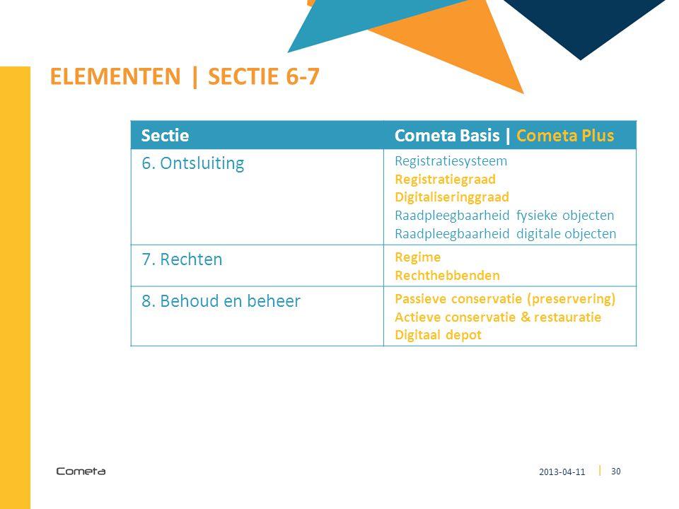ELEMENTEN | SECTIE 6-7 Sectie Cometa Basis | Cometa Plus