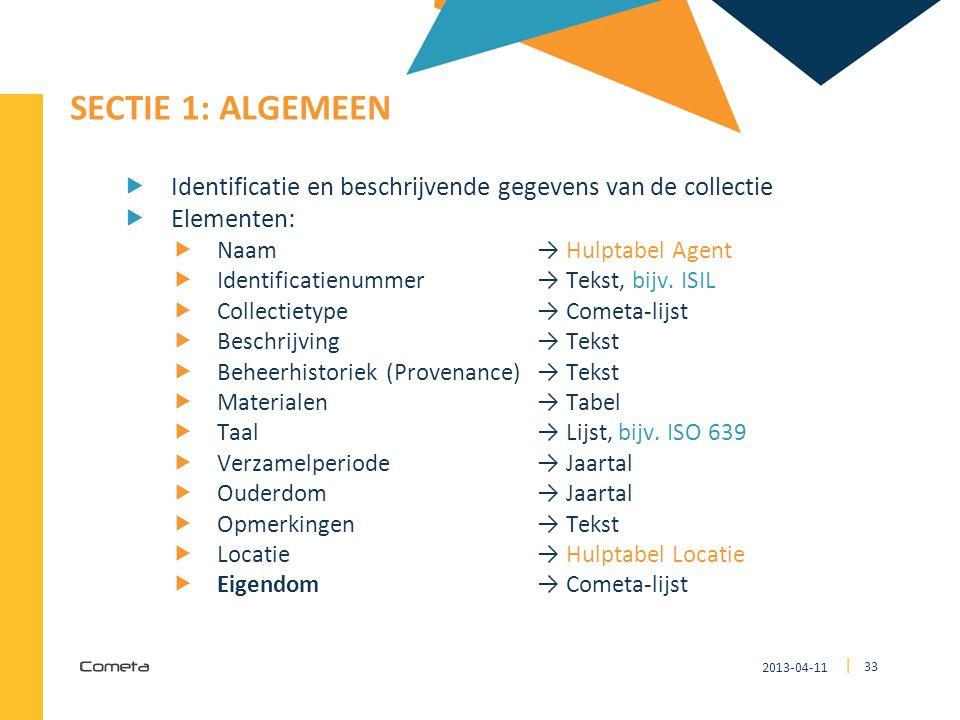 3333 SECTIE 1: Algemeen. Identificatie en beschrijvende gegevens van de collectie. Elementen: Naam → Hulptabel Agent.
