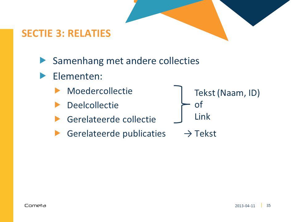 SECTIE 3: Relaties Samenhang met andere collecties Elementen: