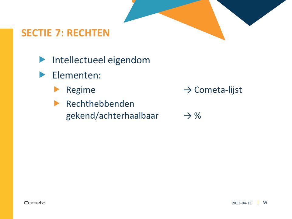 SECTIE 7: Rechten Intellectueel eigendom Elementen: